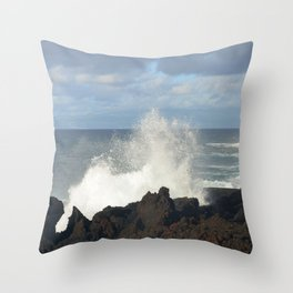 Sea Spray On A Lava Shoreline Throw Pillow