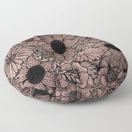Floral Rose Gold Flowers and Leaves Drawing Black Floor Pillow