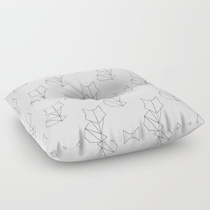Geometric Fox - Black Floor Pillow by eskaa   Society6