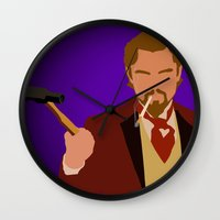 calvin Wall Clocks featuring Calvin Candie - Django Unchained by Tom Storrer