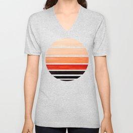 Burnt Sienna Mid Century Modern Minimalist Circle Round Photo Staggered Sunset Geometric Stripe Desi Unisex V-Neck