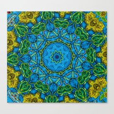 Lovely Healing Mandalas in Brilliant Colors: Blue, Gold, and Green Canvas Print
