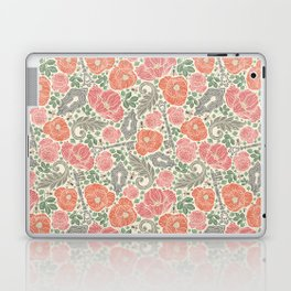 Orange poppies and red roses with keys on light background Laptop & iPad Skin