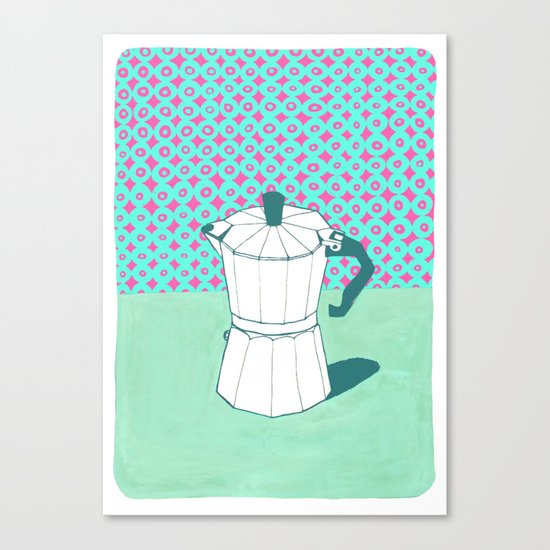Coffee Pot with Wallpaper (Green) Canvas Print