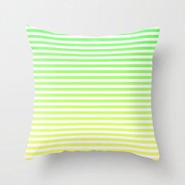 Beach Blanket - Green/Yellow Stripes Throw Pillow