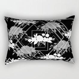 Geometrical modern black white floral pattern Rectangular Pillow
