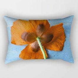 Red Poppy on Blue Rectangular Pillow