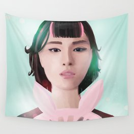 South Korean Girl With Hair Rollers and Bunny Ear Fan Portrait for K-Pop Lovers Wall Tapestry