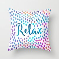 relax Throw Pillows featuring Relax by Elisabeth Fredriksson