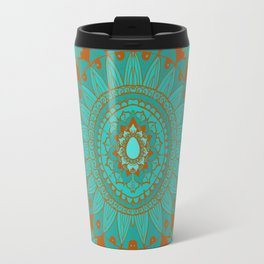Hand-Drawn Bohemian Mandala Turquoise & Rust Travel Mug