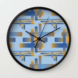 Woven Rounded Overlapping Rectangles Oranges Techno Blue Sky Pattern Wall Clock