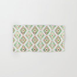 Abstract geometrical brown lime green ethno diamonds pattern Hand & Bath Towel