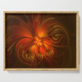 Burning, Abstract Fractal Art With Warmth Serving Tray