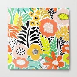 Summer Flower Field Abstract Orange Black Yellow Green White Pattern Large Metal Print