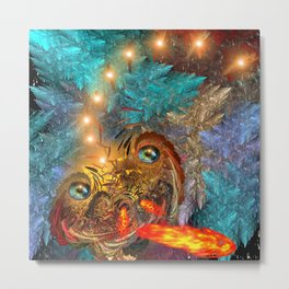 Golden dragon overcoming the icy space Metal Print