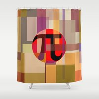 pi Shower Curtains featuring Geometric Pi  by Vi Sion