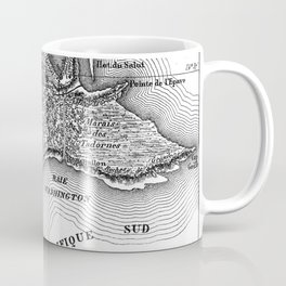 Map of the Mysterious Island - Jules Verne - Vintage Map Coffee Mug