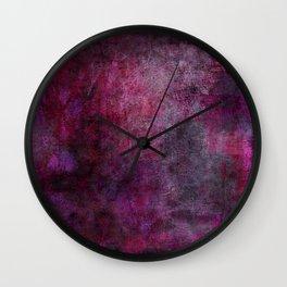 Magenta and Black Abstract Wall Clock