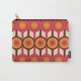 Magenta, Orange, Ivory & Brown Retro 1960s Circle Pattern Carry-All Pouch