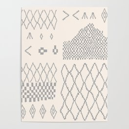 Moroccan Patchwork in Cream and Grey Poster