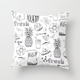 White And Black Fruit Pattern Throw Pillow