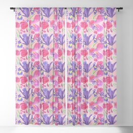 flowers irises and tulips pattern on a pink background Sheer Curtain