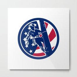 American Lineworker USA Flag Icon Metal Print