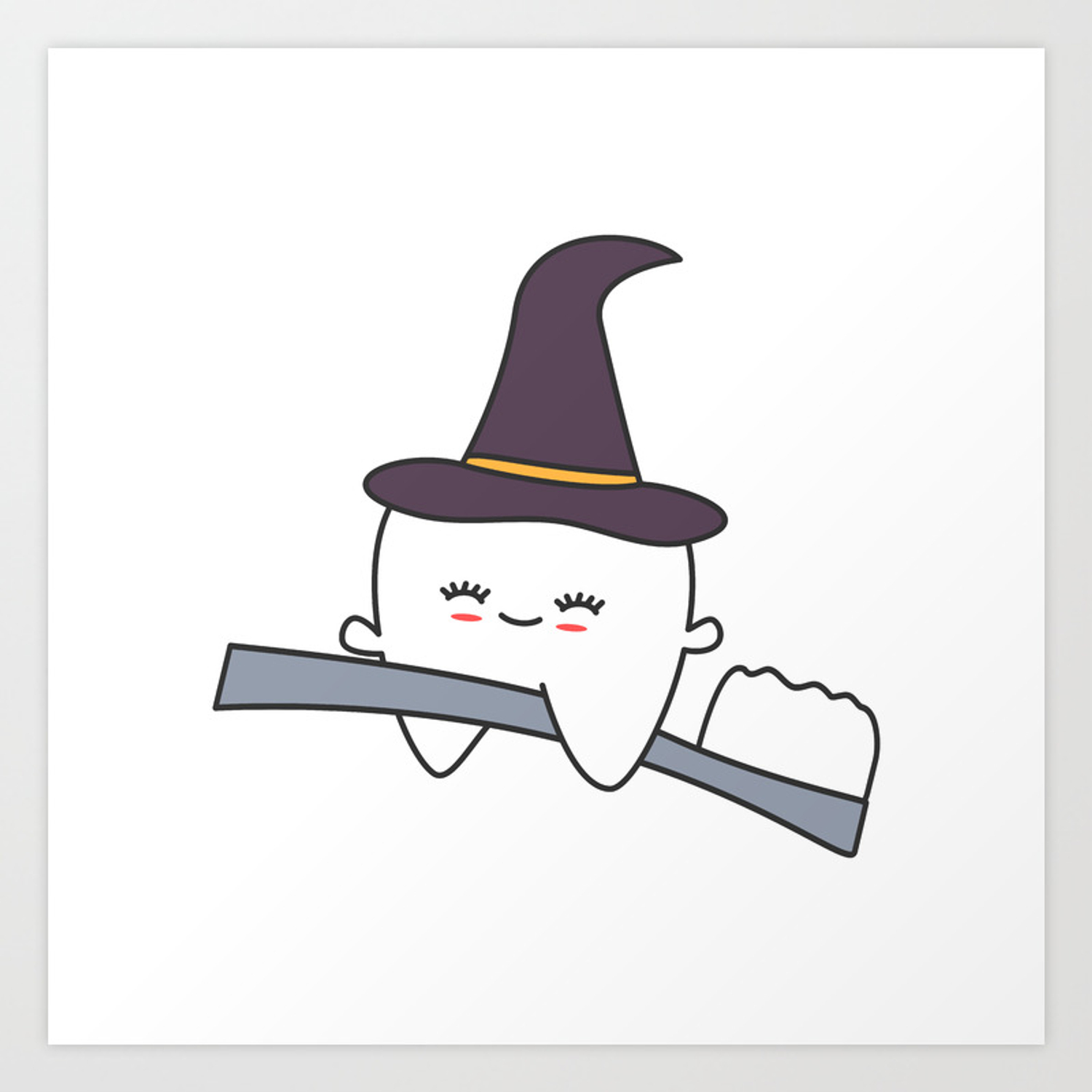 Cute Cartoon Tooth With Witch Hat Flying On Toothbrush Funny Halloween Illustration Art Print By Alicevacca Society6