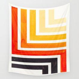 Orange Mid Century Modern Watercolor Colorful Ancient Aztec Art Pattern Minimalist Geometric Pattern Wall Tapestry