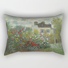 Claude Monet  A Corner of the Garden with Dahlias Rectangular Pillow