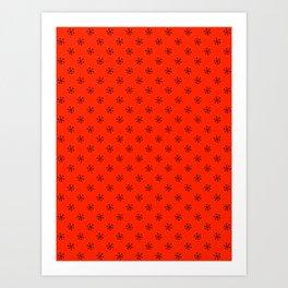 Black on Scarlet Red Snowflakes Art Print