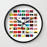 spawn Wall Clocks featuring SH as flags by Fabian Gonzalez