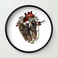 anatomical heart Wall Clocks featuring Anatomical Heart  by Whoosh
