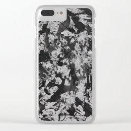 Black Watercolor on White Background Clear iPhone Case