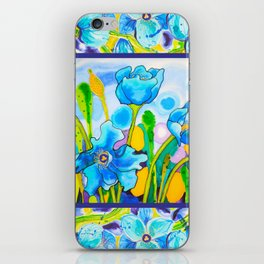 Blue Poppies 1 with Border iPhone Skin