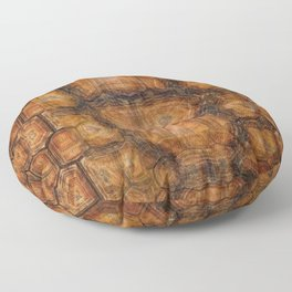 Brown Patterned  Organic Textured Turtle Shell  Design Floor Pillow