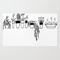 plants Area & Throw Rugs featuring Plants by Caroline Simó