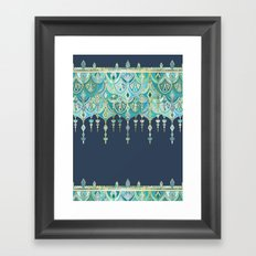 Art Deco Double Drop in Blues and Greens Framed Art Print