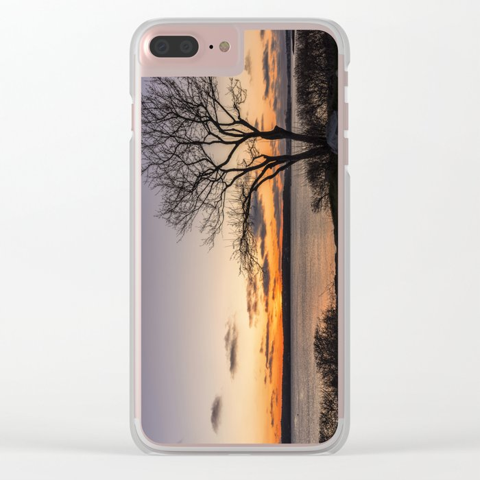 Tree silhouette at sunset Clear iPhone Case