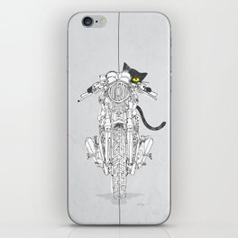 Cat Chicken Motorcycle Art Print iPhone Skin
