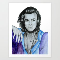 Harry Styles watercolor and pencil artwork Art Print