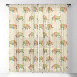 Fractal Geometric Bull Sheer Curtain