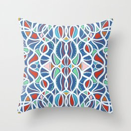 Geometric colourful motifs pattern Throw Pillow