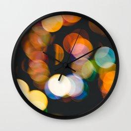 Defocused christmas lights Wall Clock