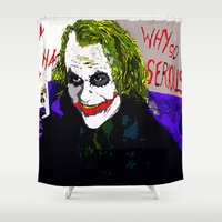 joker Shower Curtains featuring joker by Saundra Myles