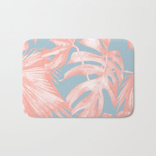 Island Love Coral Pink on Pale Blue Bath Mat