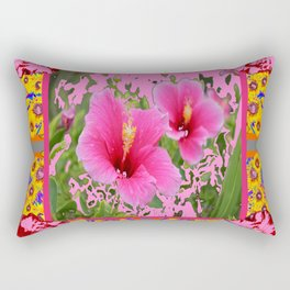 PINK TROPICAL RED-PINK HIBISCUS FLOWERS DESIGN Rectangular Pillow