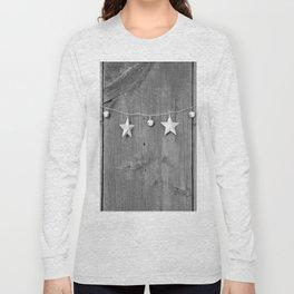 Stars on Wood (Black and White) Long Sleeve T-shirt