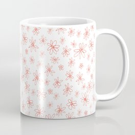 Loopy Flowers - coral on white Coffee Mug