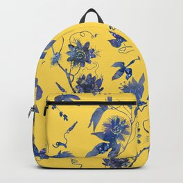 Elegant Blue Passion Flower on Mustard Yellow Backpack